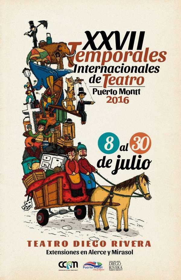 Afiche de los Temporales Internacionales de Teatro 2016, creado por Marcelo Muñoz Martin